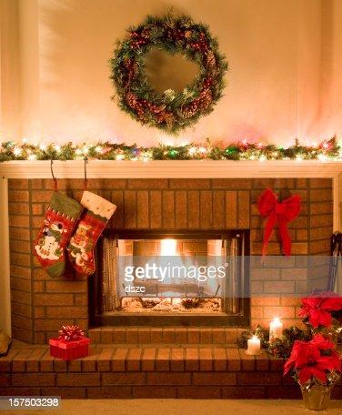 warm, cheery, Christmas fireplace