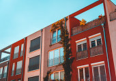 warm colored row houses with modern facades