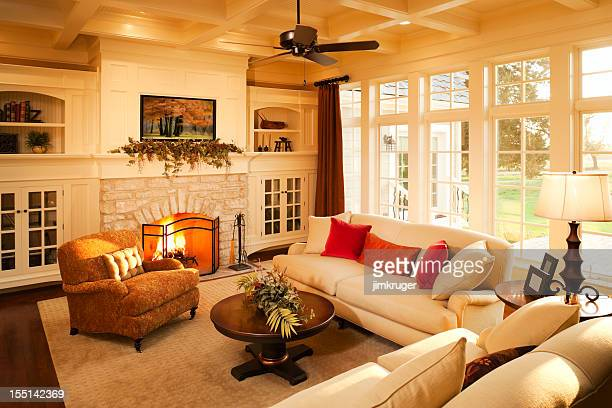 Warm elegant sunlit living room.