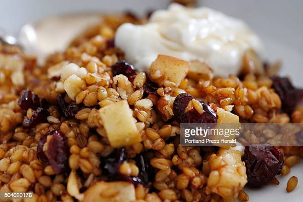 A warm farro breakfast bowl with apples cranberries and hazelnuts is seen Monday Dec 28 2015 in Brunswick Maine