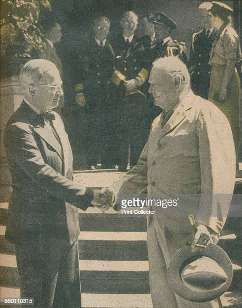 'Warm Handshake Between Premier and President' 1942 Winston Churchill meeting President Truman for the first time on the eve of the Potsdam...