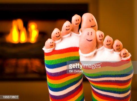 Heureux pieds au chaud