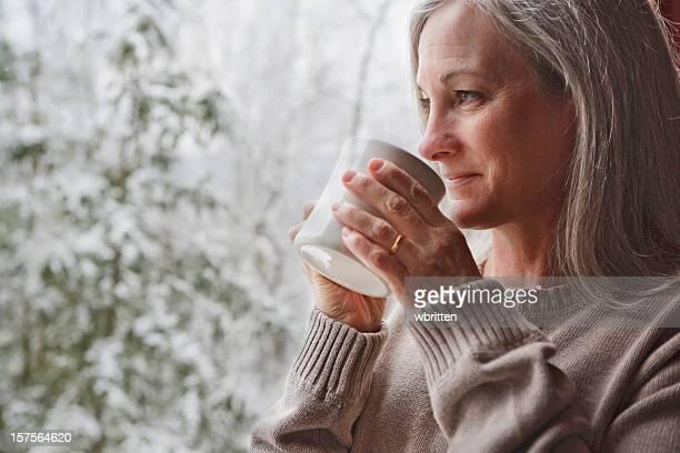 Warm inside on a snowy day