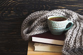 Warm knitted plaid, cup of hot tea and books on wooden table. Background with copy Space. Autumn and winter concept