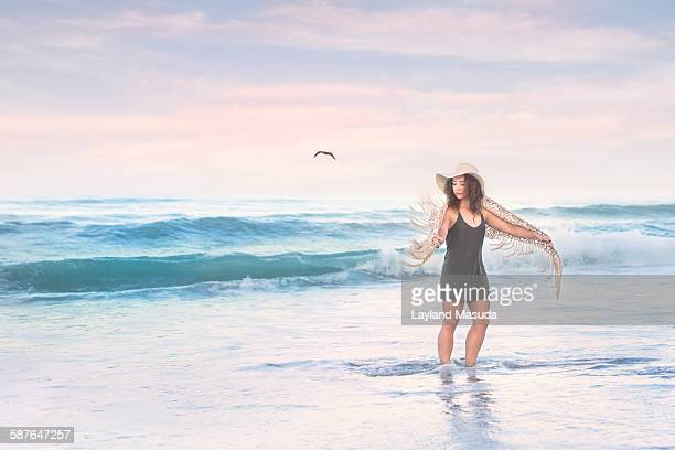 Warm ocean water - young woman