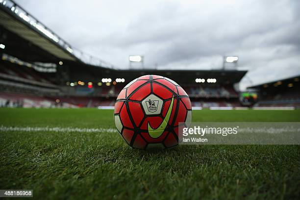 A warm up ball is pictured pitchside prior to the Barclays Premier League match between West Ham United and Newcastle United at the Boleyn Ground on...