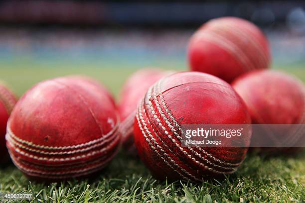Warm up balls are seen during day four of the Fourth Ashes Test Match between Australia and England at Melbourne Cricket Ground on December 29 2013...