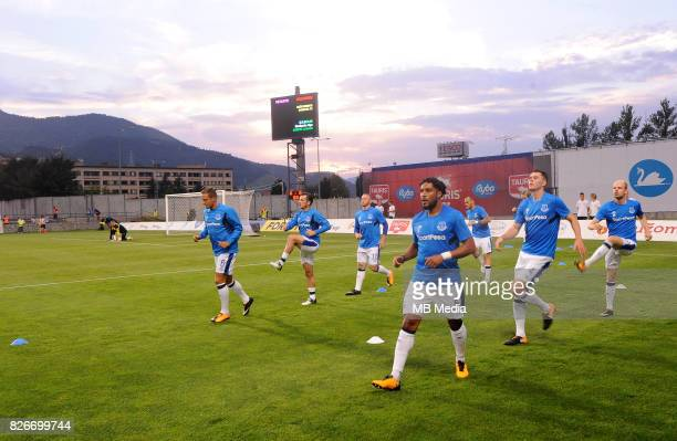 Warm up reacts during the UEFA Europa League Qualifier between MFK Ruzomberok and Everton on August 3 2017 in Ruzomberok Slovakia