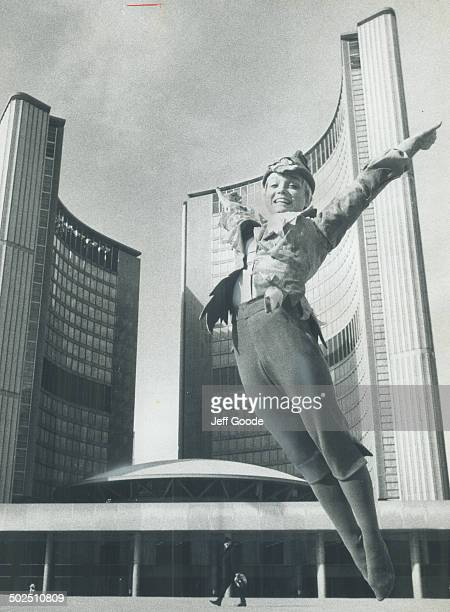 Warming up for her role as Peter Pan former US Olympic gymnast Cathy Rigby was leaping around yesterday in front of Toronto City Hall The tiny blonde...