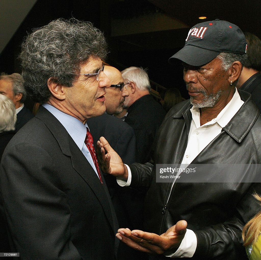 Warner Bros. Alan Horn (L) and actor Morgan Freeman talk at the afterparty for the premiere of Paramount's 'Flags Of Our Fathers' at the Academy of Motion Picture Arts and Sciences on October 9, 2006 in Beverly Hills, California.