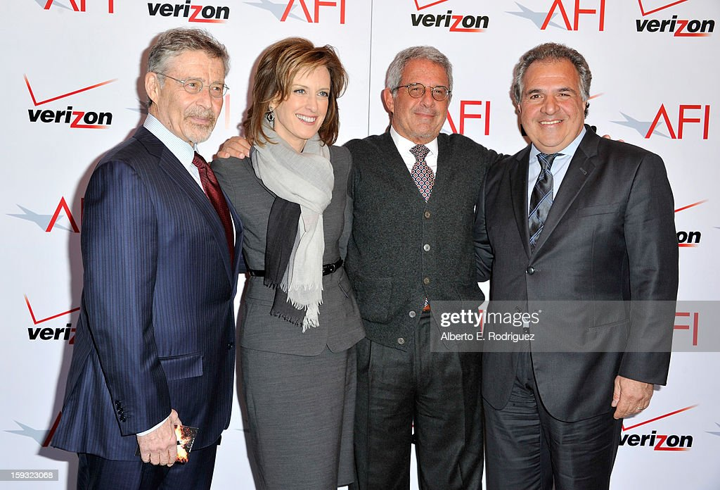 Warner Bros. Entertainment Chairman/CEO Barry Meyer, Co-chair of Disney media networks and president of Disney-ABC Television group Anne Sweeney, Ron Meyer, President and CEO, Universal Studios, and Co-Chairman and CEO, Fox Flmed Entertainment, Jim Gianopulos attend the 13th Annual AFI Awards at Four Seasons Los Angeles at Beverly Hills on January 11, 2013 in Beverly Hills, California.