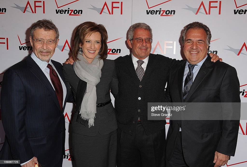 Warner Bros. Entertainment Chairman/CEO Barry Meyer, Co-chair of Disney media networks and president of Disney-ABC Television group Anne Sweeney, Ron Meyer, President and CEO, Universal Studios, and Co-Chairman and CEO, Fox Flmed Entertainment, Jim Gianopulos attends the 13th Annual AFI Awards Luncheon at the Four Seasons Hotel Los Angeles at Beverly Hills on January 11, 2013 in Beverly Hills, California.