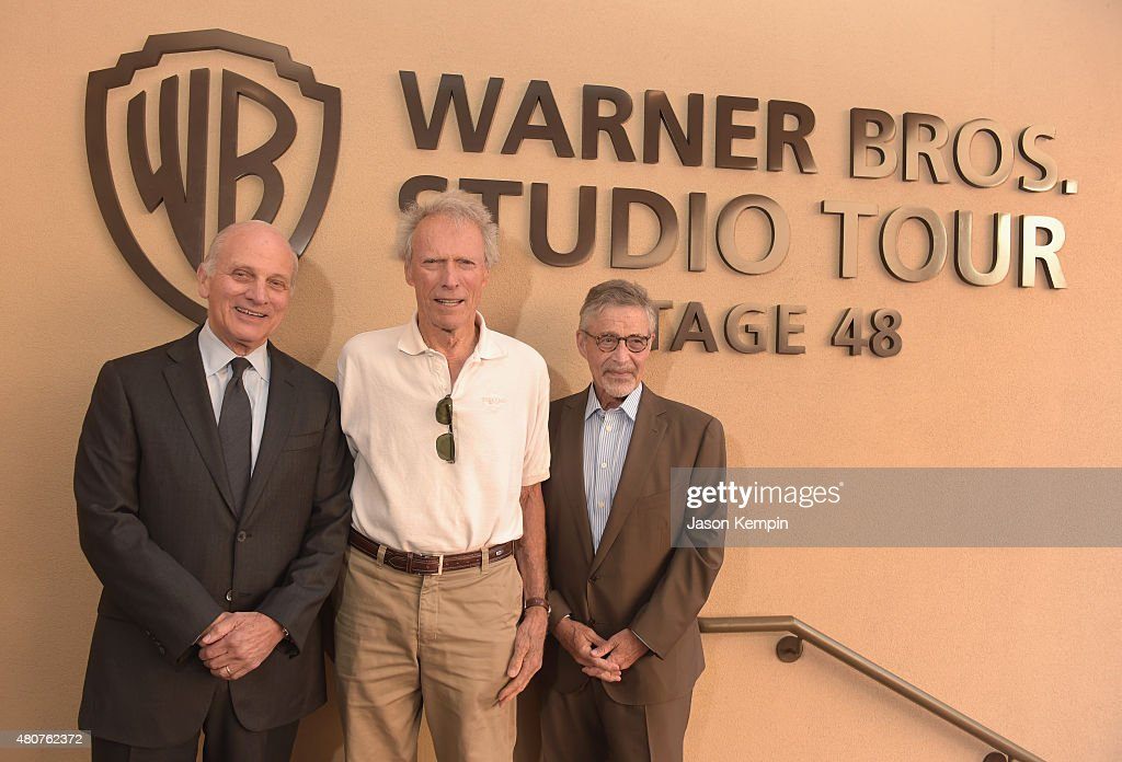 Warner Bros. Entertainment Vice Chairman <a gi-track='captionPersonalityLinkClicked' href=/galleries/search?phrase=Ed+Romano&family=editorial&specificpeople=4268450 ng-click='$event.stopPropagation()'>Ed Romano</a>, <a gi-track='captionPersonalityLinkClicked' href=/galleries/search?phrase=Clint+Eastwood&family=editorial&specificpeople=201795 ng-click='$event.stopPropagation()'>Clint Eastwood</a>, and former Warner Bros. Chairman & CEO <a gi-track='captionPersonalityLinkClicked' href=/galleries/search?phrase=Barry+Meyer&family=editorial&specificpeople=221705 ng-click='$event.stopPropagation()'>Barry Meyer</a> attend the Warner Bros. Studio Tour Hollywood Expansion Official Unveiling, Stage 48: Script To Screen at Warner Bros. Studios on July 14, 2015 in Los Angeles, California.