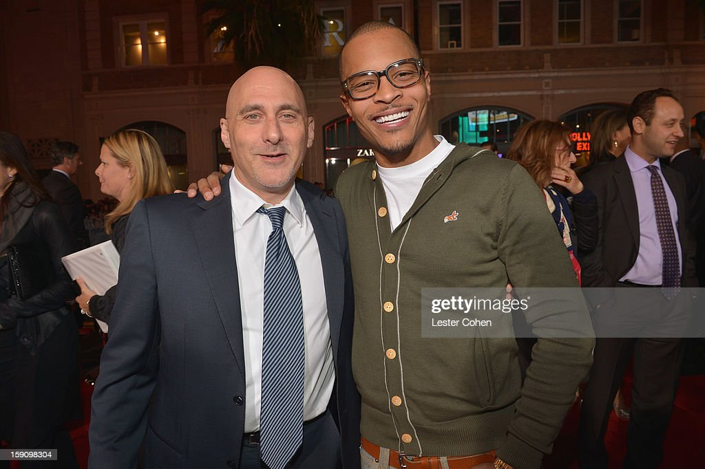 Warner Bros. Pictures Group President Jeff Robinov and rapper T.I. arrive at the 'Gangster Squad' premiere at Grauman's Chinese Theatre on January 7, 2013 in Hollywood, California.