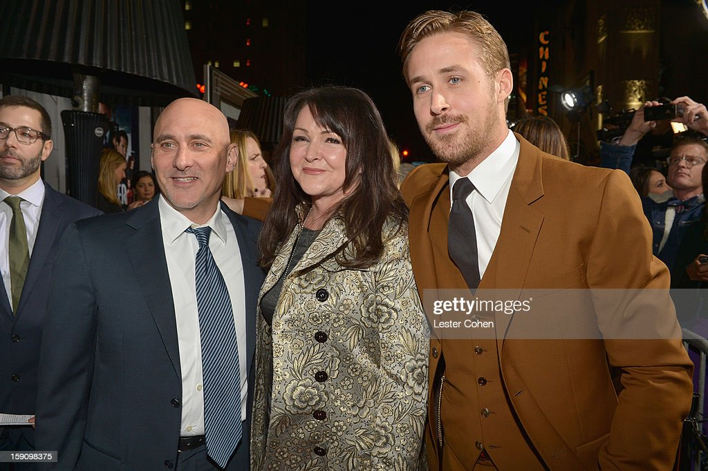 Warner Bros. Pictures Group President Jeff Robinov, Donna Gosling and Ryan Gosling arrive at the 'Gangster Squad' premiere at Grauman's Chinese Theatre on January 7, 2013 in Hollywood, California.