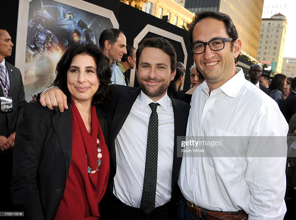 Warner Bros. Pictures President of Worldwide Marketing and International distribution Sue Kroll, actor Charlie Day and Warner Bros. Pictures production president Greg Silverman arrive at the premiere of Warner Bros. Pictures' and Legendary Pictures' 'Pacific Rim' at Dolby Theatre on July 9, 2013 in Hollywood, California.