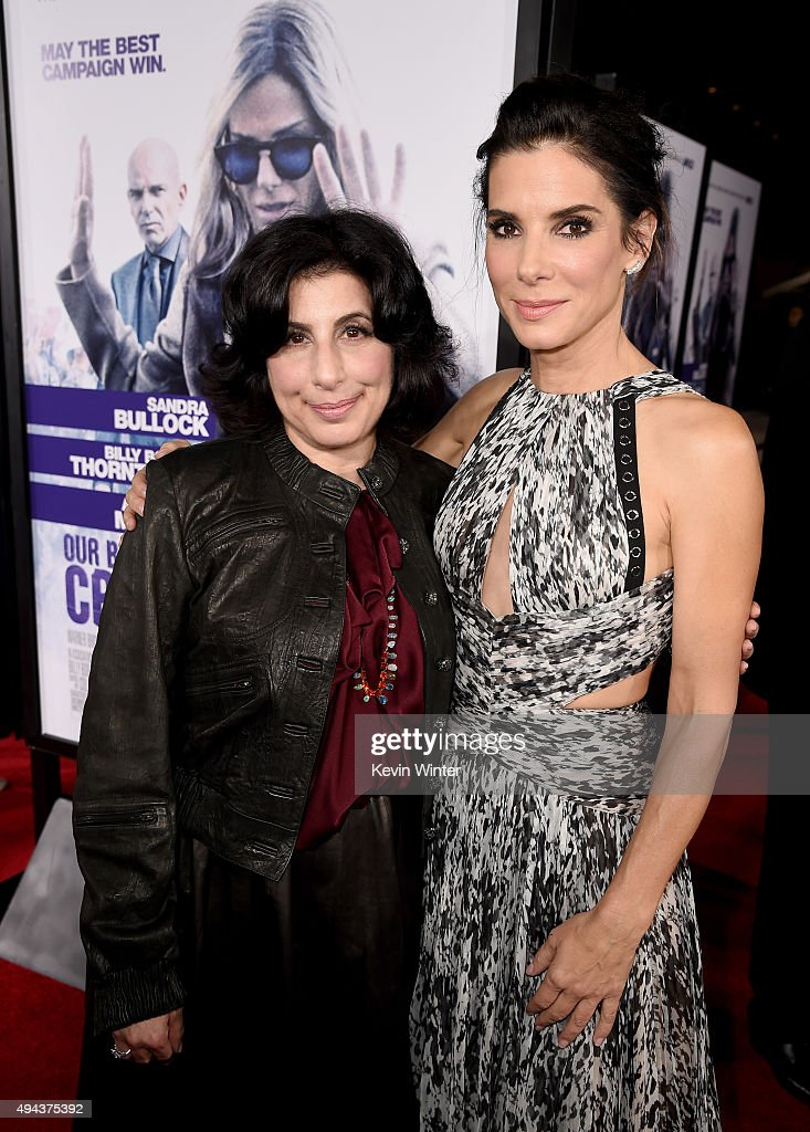 Warner Bros. Pictures' President of Worldwide Marketing & International Distribution Sue Kroll (L) and actress/producer Sandra Bullock attend the premiere of Warner Bros. Pictures' 'Our Brand Is Crisis' at TCL Chinese Theatre on October 26, 2015 in Hollywood, California.