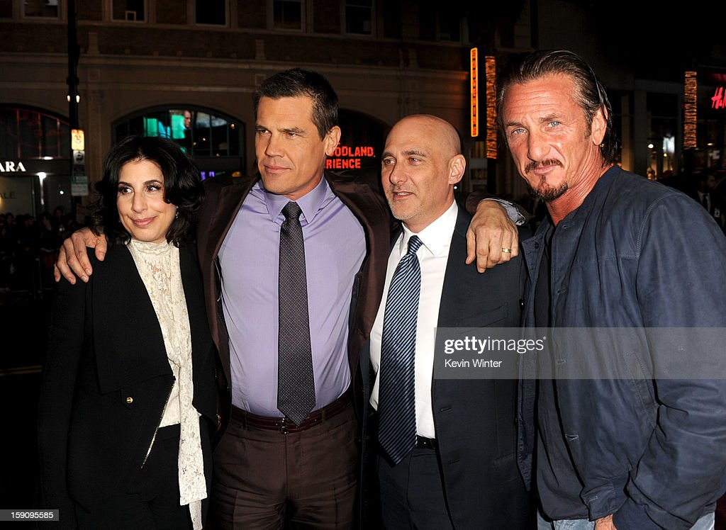 Warner Bros. Pictures Worldwide Marketing President Sue Kroll, actors Josh Brolin, Warner Bros. Pictures Group President Jeff Robinov and Sean Penn arrive at Warner Bros. Pictures' 'Gangster Squad' premiere at Grauman's Chinese Theatre on January 7, 2013 in Hollywood, California.