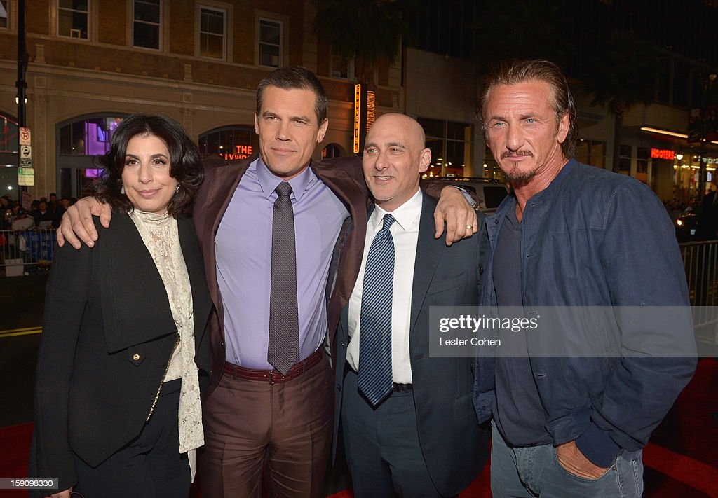 Warner Bros. Pictures Worldwide Marketing President Sue Kroll, actors Josh Brolin, Warner Bros. Pictures Group President Jeff Robinov and Sean Penn arrive at the 'Gangster Squad' premiere at Grauman's Chinese Theatre on January 7, 2013 in Hollywood, California.