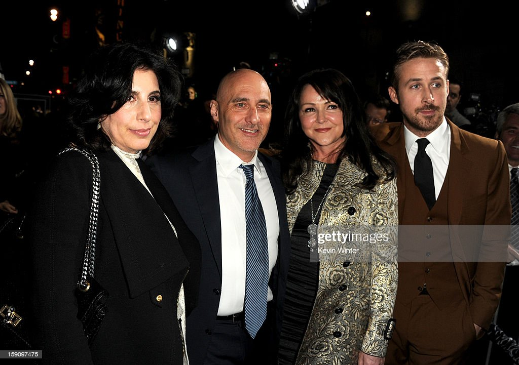 Warner Bros. Pictures Worldwide Marketing President Sue Kroll, Warner Bros. Pictures Group President Jeff Robinov, Donna Gosling and actor Ryan Gosling arrive at Warner Bros. Pictures' 'Gangster Squad' premiere at Grauman's Chinese Theatre on January 7, 2013 in Hollywood, California.