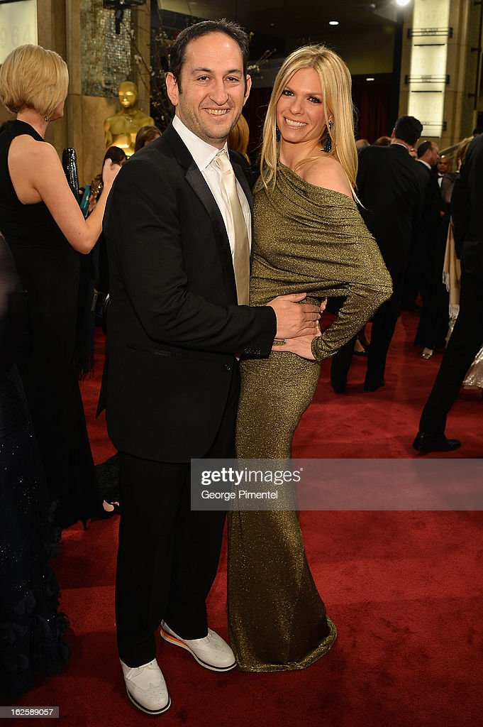 Warner Bros. President of Production Greg Silverman and wife, Amanda Silverman, arrive at the Oscars at Hollywood & Highland Center on February 24, 2013 in Hollywood, California.