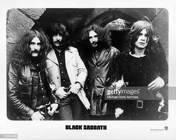 Warner Bros Records publicity still photo of Black Sabbath Geezer Butler Tony Iommi Bill Ward and Ozzy Osbourne circa 1970