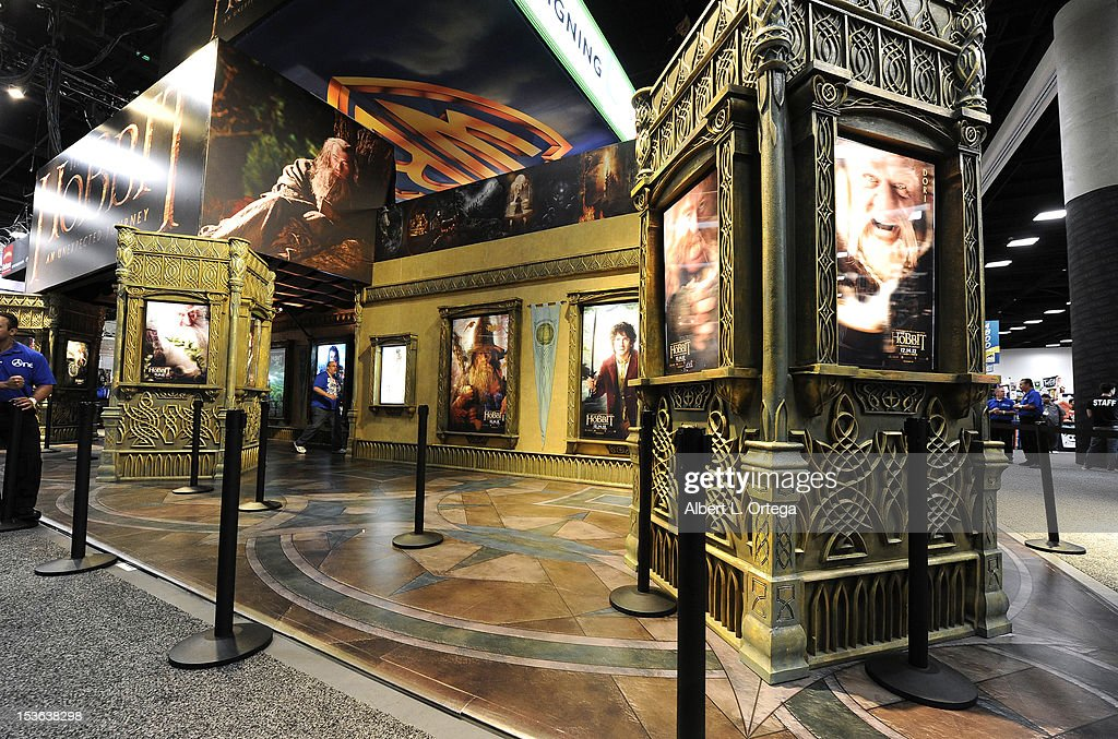 Warner Brothers booth with 'The Hobbit' display during day 3 of Comic-Con International 2012 held at San Diego Convention Center on July 14, 2012 in San Diego, California.