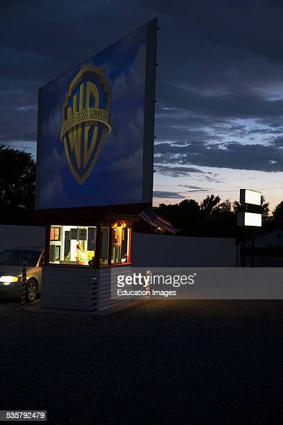 Warner Brothers logo projected at Star Drive In Movie Theater Montrose Colorado