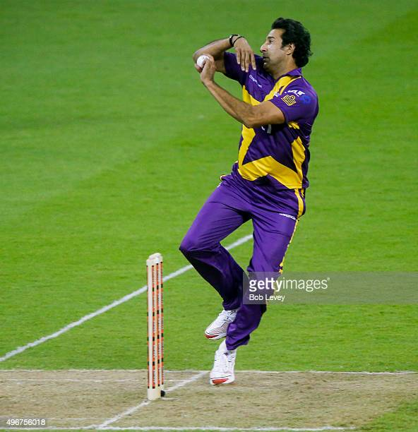 Warne's Warriors bowler Wasim Akram during action at Minute Maid Park on November 11 2015 in Houston Texas