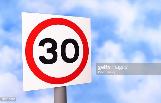 Warning 30MPH road sign