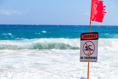 Warning no swimming sign, Sandy beach, Oahu, Hawaii