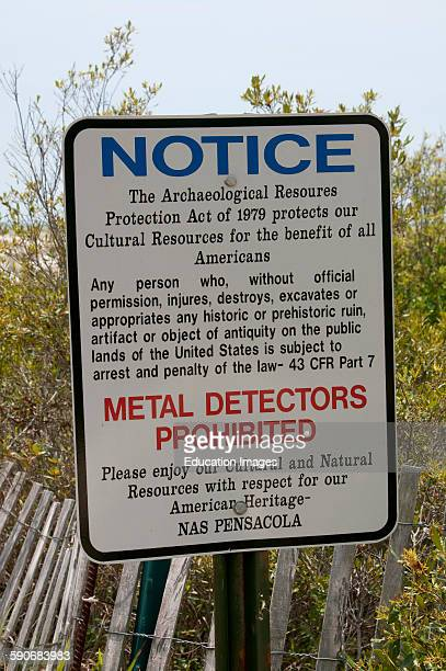 Warning notice Metal Detectors Prohibited on NAS land Pensacola Florida USA