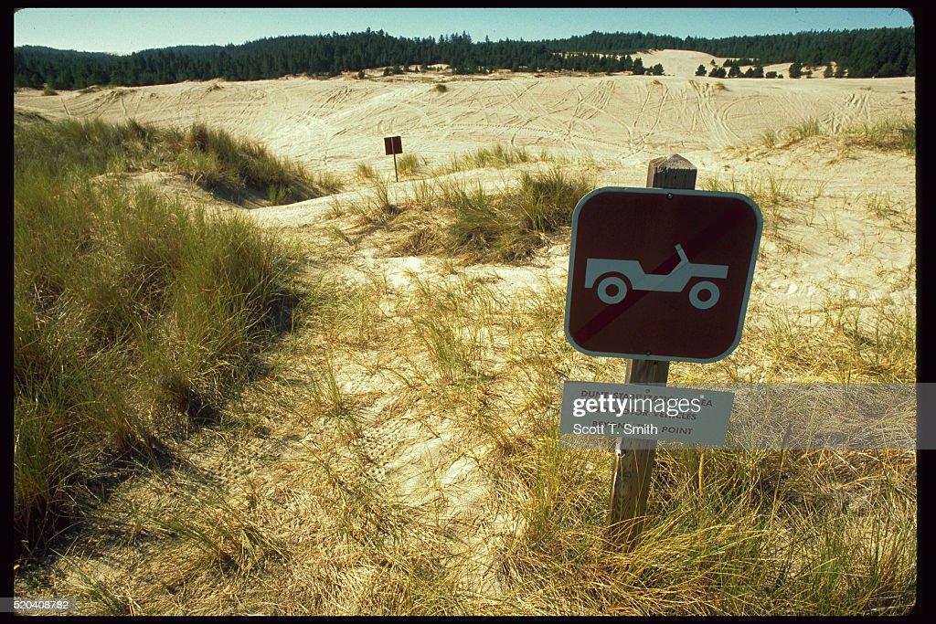 Warning Sign at Damaged Dunes Area