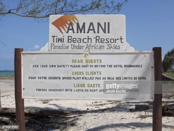 Warning sign at holiday resort due to terrorist alerts on the beach at Tiwi on Indian Ocean coast Kenya
