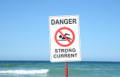 """Warning Sign """"Danger Strong Current"""" at the beach."""