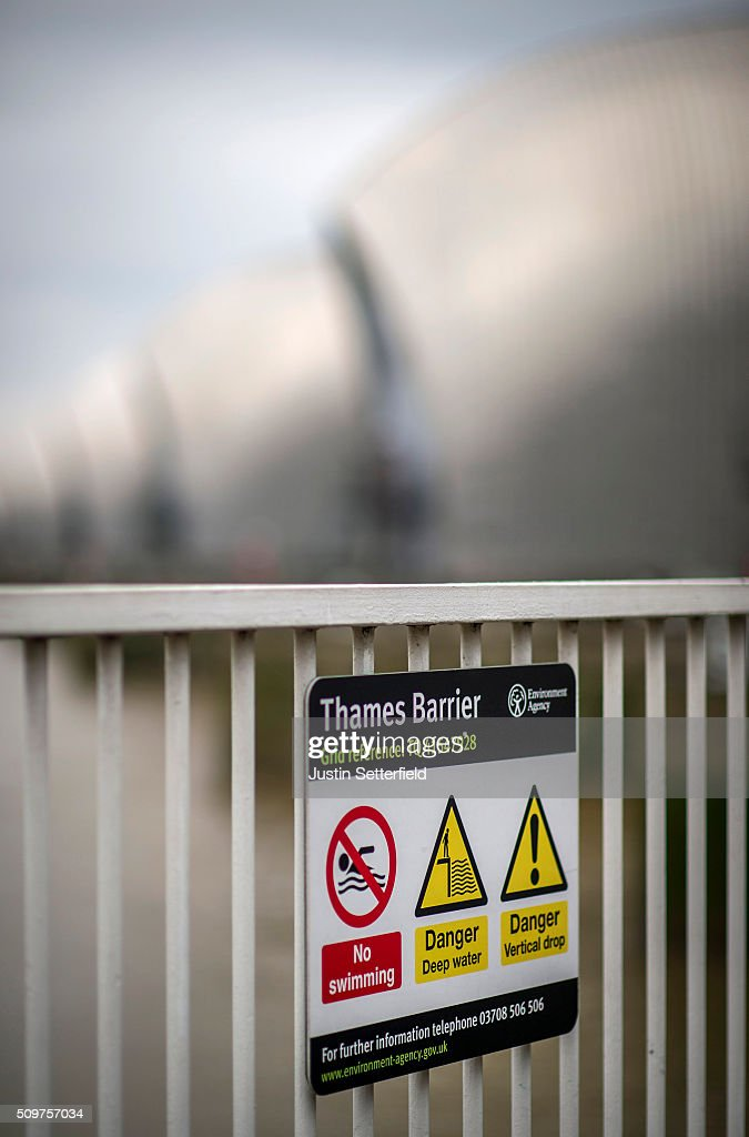 A warning sign at the Thames Barrier on February 12, 2016 in London, England. Flood alerts have been issued for a huge stretch of London after the Thames Barrier was closed yesterday for first time this winter after the river Thames burst it's banks due to massive tides and heavy rain.