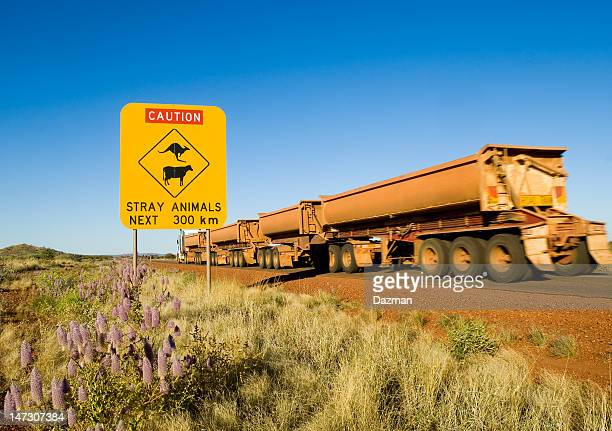 Warning sign for stray animals in remote Australia.