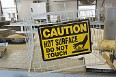 Warning sign in an asphalt plant laboratory