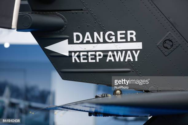 A warning sign is seen on the tail of a Blackhawk helicopter at 25th International Defence Industry Exhibition in Kielce Poland on 8 September 2017...