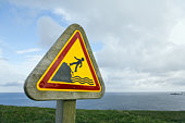 Warning Sign Near Cliff, Bretagne, France