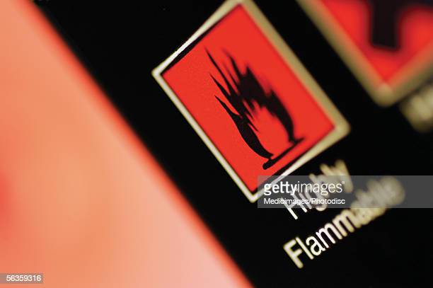 Warning sign of flammability, close-up