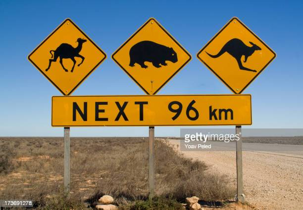 Warning sign on Number 1 road of Australia