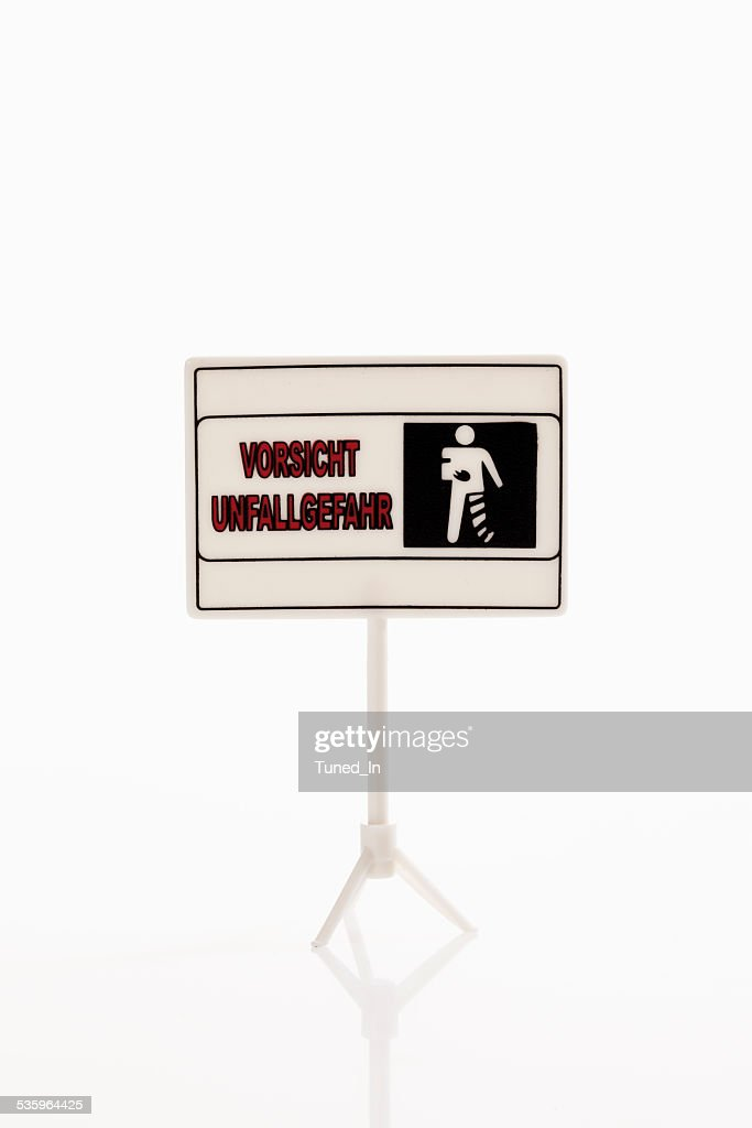 Warning sign on white background : Stock Photo
