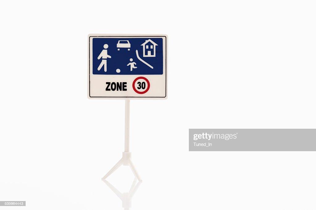 Warning sign on white background : Stock Photo