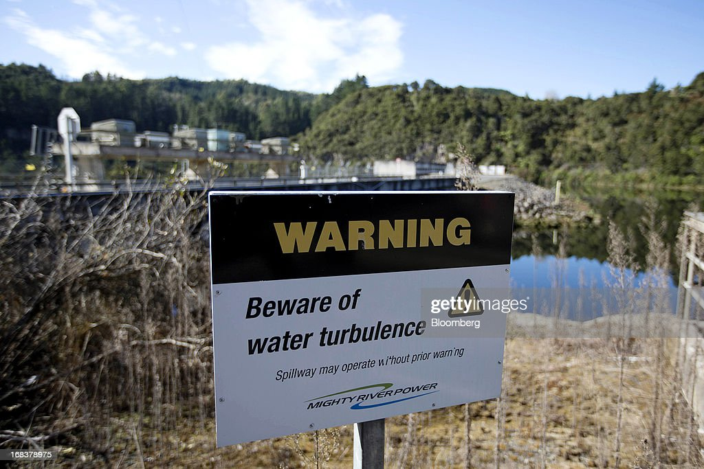A warning stands outside the Waipapa hydroelectric power station, operated by Mighty River Power Ltd., north of Mangakino, New Zealand, on Wednesday, May 8, 2013. New Zealand raised NZ$1.7 billion ($1.4 billion) from the sale of Mighty River shares as the nation's biggest initial public offering closed at a price at the lower end of the indicative range. Photographer: Brendon O'Hagan/Bloomberg via Getty Images