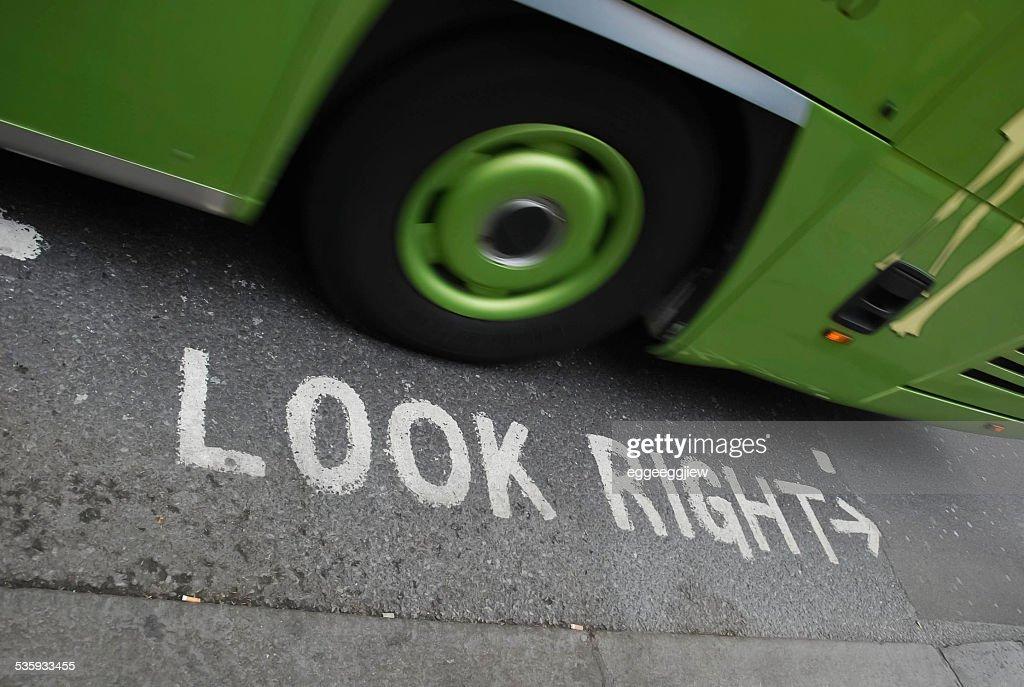 warning the bus. : Stock Photo