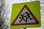 Symbol caution children crossing street transportation safety