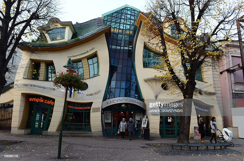A warped house, inspired by drawings of Polish illustrator Jan Szancer, is pictured on the main street in Sopot, a Baltic sea resort, on November 14, 2012.