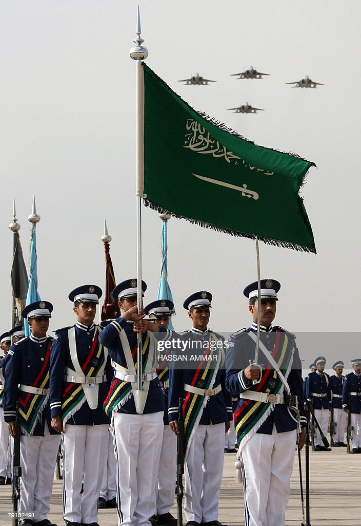 F15 warplanes fly over officers during a graduation ceremony at King Faisal Air Force University in Riyadh 20 January 2008 AFP PHOTO/HASSAN AMMAR