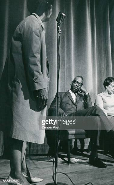 Warren Alexander assistant director of Colorado Civil Rights Commission and Mrs Dorothy Wham chairman of Southeast Denver School Action Committee...